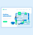 Landing page template online education concept