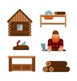 Lumberjack cartoon tools icons vector image vector image