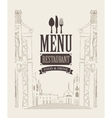 menu with drawing house in old town vector image