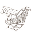 monochrome set hammer plane saw nails isolated vector image vector image