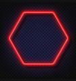 neon light hexagonal banner neon light vector image vector image