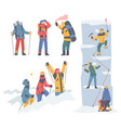 people characters with backpacks ascending vector image vector image