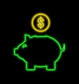 piggy bank neon sign bright glowing symbol on a vector image