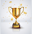 prize cup on a white background with confetti vector image