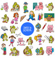 school and education carton characters set vector image