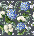 seamless pattern with hydrangea cotton flowers vector image vector image