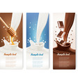 Set of milk honey and chocolate banners vector image vector image