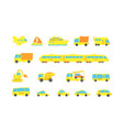 set yellow child transport variety machines cargo vector image vector image