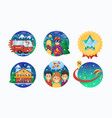 ski or snowboard resort icons collection vector image