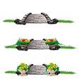 stone bridge with flowers set vector image