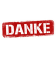 thank you on german language danke sign or stamp vector image vector image