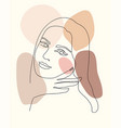 trendy outline woman portrait in pastel tones vector image