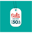 white tag sale special discount up to 50 off vect vector image vector image