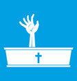 zombie hand coming out of his coffin icon white vector image vector image