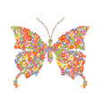 butterfly shape with flowers vector image