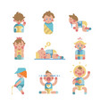 set of cute small babies in action vector image