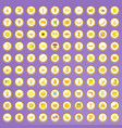 100 yellow icons set in cartoon style vector image