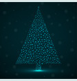 abstract neon christmas tree of glowing snowflakes vector image vector image