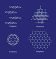 allotropes of carbon graphite diamond fullerene vector image vector image
