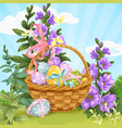 basket with easter eggs on lawn vector image vector image