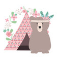 bear grizzly with feathers hat and indian tent vector image vector image