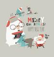 cartoon happy animals celebrating christmas with vector image