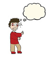 cartoon terrified boy with thought bubble vector image vector image