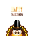 cartoon turkey in a pilgrim hat card vector image vector image