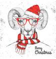christmas hipster fashion animal ram or mouflon vector image vector image