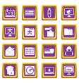 criminal activity icons set purple vector image vector image