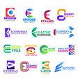 e letter corporate identity business icons vector image