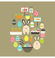 Easter holiday Flat Icons Set over brown vector image vector image