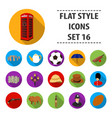 england country set icons in flat style big vector image vector image