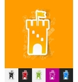 fortress paper sticker with hand drawn elements vector image