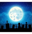 graveyard cemetery tomb with fool moon vector image vector image