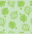 green artichoke seamless background vector image vector image
