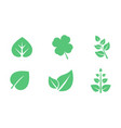 green leaves set various shapes leaves of vector image