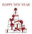 greeting card with inscription happy new year with vector image