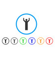 hands up pose rounded icon vector image