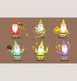 happy gnomes set bearded gnomes characters in vector image vector image