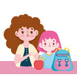 happy teachers day teacher student with backpack vector image vector image