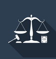 law and justice scales of justice gavel and book vector image vector image