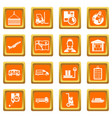 logistic icons set orange vector image vector image