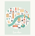 map of london with landmarks symbols vector image vector image