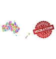 migration composition of mosaic map of australia vector image