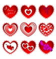 Nine of hearts in different design vector image vector image