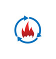 refresh and fire logo icon design template vector image vector image