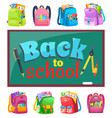 schoolchalkboard and schoolbags stationery tools vector image vector image
