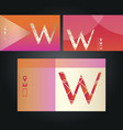set of neon business cards with letter w vector image