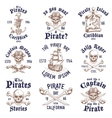 Set of vintage hand drawn pirates designed emblems vector image